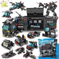 SWAT poste de Police camion modèle blocs de construction legoing ville machine hélicoptère voiture chiffres briques jouets éducatifs pour les enfants