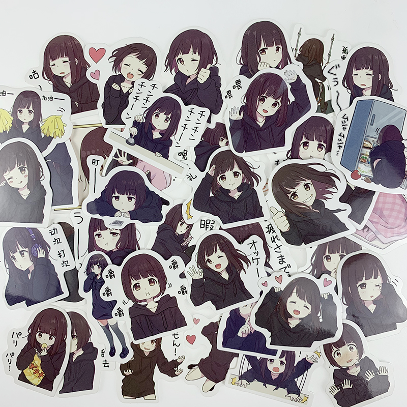 39pcs Cute Menhera-chan Kids Fun Paper Stickers Homemade Bookkeeping Decals On Laptop / Decorative Scrapbooking / DIY