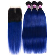 3/4 Ombre Peruvian Hair T1B Blue Bundles With Closure Remy Human Extension Colored Roots Straight