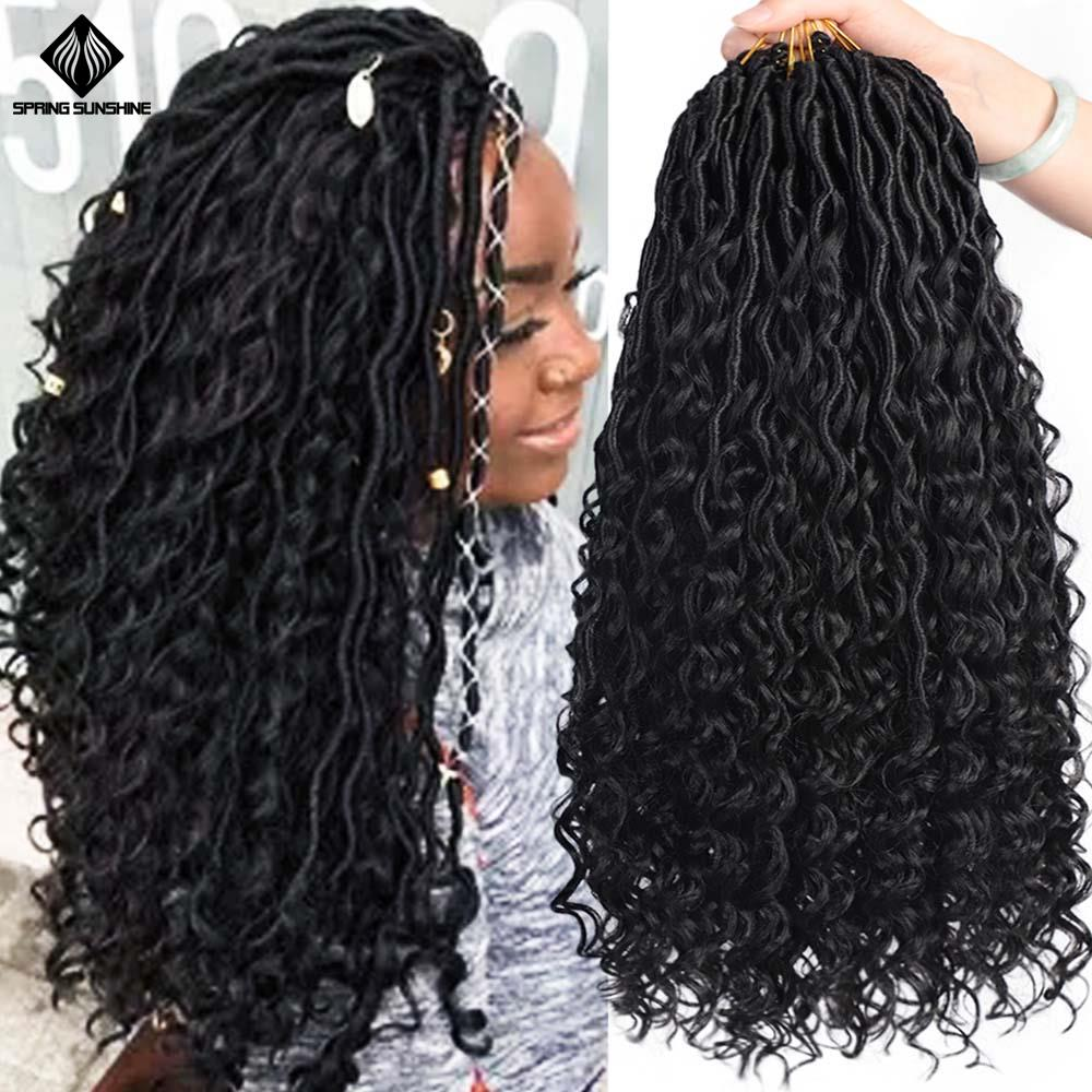 Spring Sunshine 18inch Messy Goddess Faux Locs Curly Crochet Braid Bohemian Soft Synthetic Braids Hair Extensions