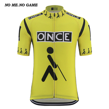 Retro once cycling jersey men yellow black bicycle shirts tour road bike wear clothing Quick Dry Anti sweat mtb cycle wear