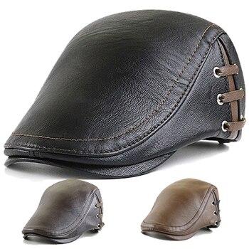 Men Beret Hat Men's PU Leather Newsboy Cap Ivy Gatsby Flat Golf Driving Cap Hunting Hat Retro Beret Caps