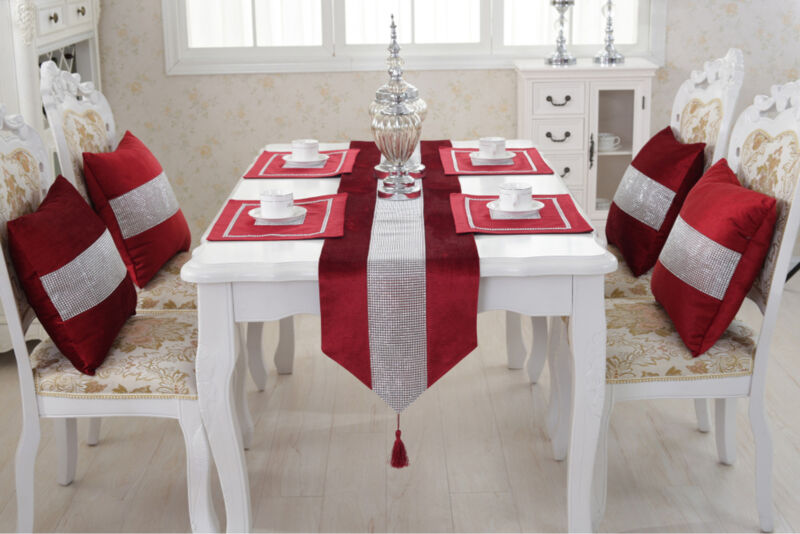 Diamond Table Runners 6 Solid Color Modern Table Runner For Wedding Party Christmas Decoration Home Table Cloth Hotel Tablecloth