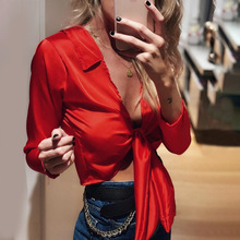New Sexy Woman Tops and Blouses Shirt Female Autumn Umbilical Top Long Sleeve V-neck Women Solid Color Boho Clothing