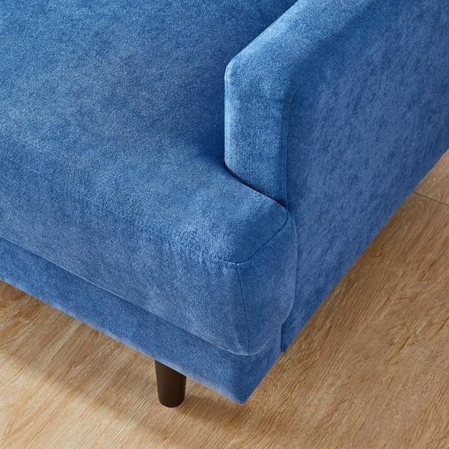 "[2021]Modern fabric sofa L shape, 3 seater with ottoman-104"" Blue 6"