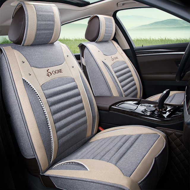 Full Coverage flax fiber car seat covers for nissan navara d40, note patrol y61, y62, primera p12, qashqai j10, j11