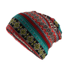 miaoxi New Fashion Vintage Floral Women Warm Beanies Scarf Autumn Solid Comfortable Skullies Hat For Girl