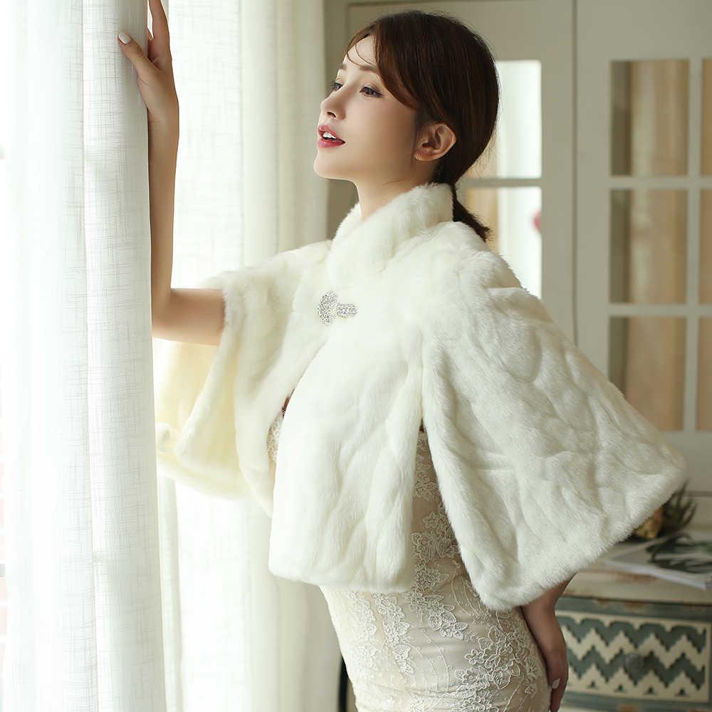 SHAMAI futrzany szal etola ślubna kobiety zima 3/4 długość rękawy Bridal okłady ciepłe futro bolerka narzutka ślubna elegancki płaszcz wieczorowy