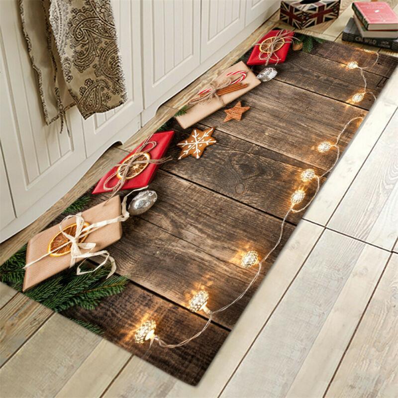 Fashion Christmas Flannel Carpet Santa Claus Rugs Anti-slip Kitchen Room Xmas Floor Mat