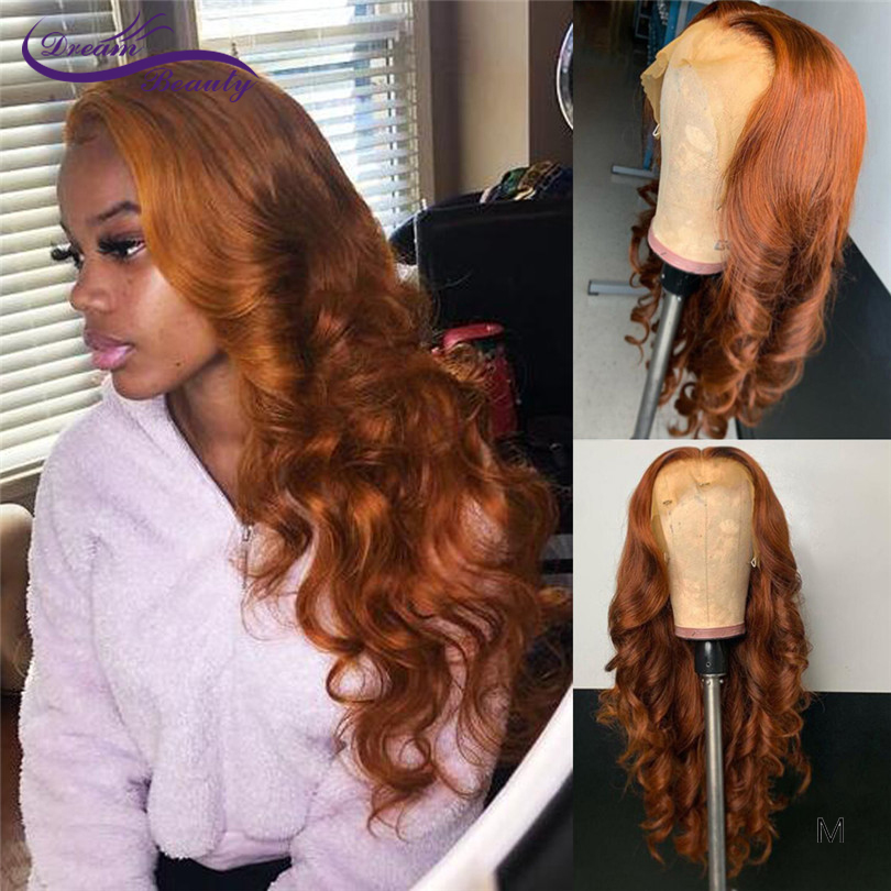 Orange Brown Lace Front Human Hair Wigs With Baby Hair 180Density Remy Meddle Ratio Body Wave 13*4/13*6 Lace Wig For Women