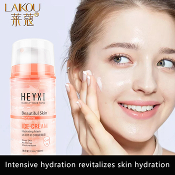 LAIKOU Ice Cream Hydrating Sleeping Face Mask  Moisturizing Oil Control Shrink Pores Wash-off First Aid Facial Mask Skin Care caicui amino acid essence cleansing cream gel clean pores whitening moisturizing face care oil control plant hydrating skin care