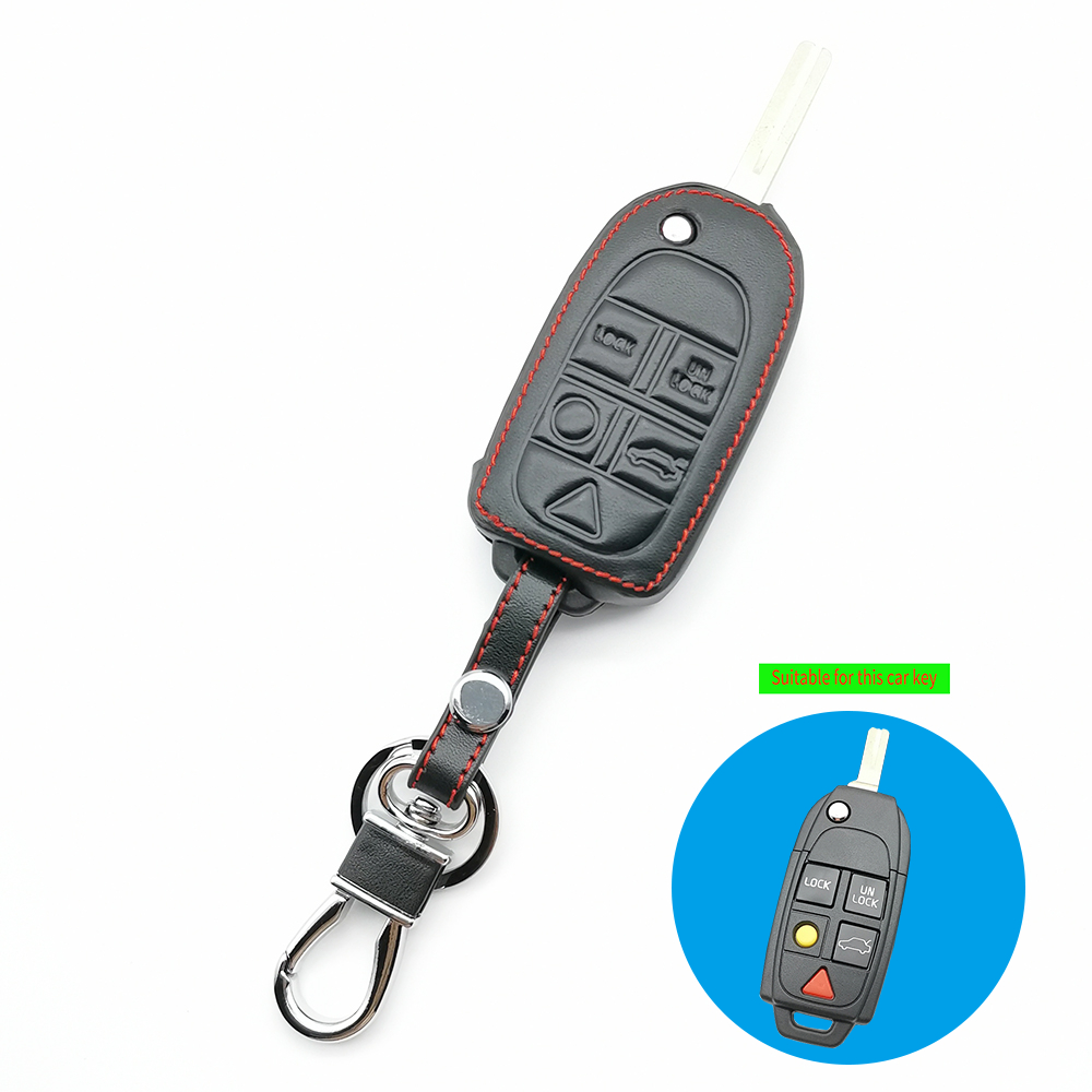 Hot Sale 99% Praise Leather Car Key Case Cover For Volvo S80 S60 V50 V70 XC70 XC90 5 Buttons Folding Fob Protection Shell