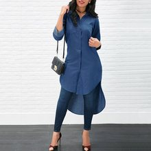 Vintacy Denim Shirt Women Jeans Shirts Womens Tops And Blouses 2019 Plus Size Long Sleeve Top Autumn Blue Fashion Female