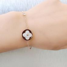 Clover Bracelet Titanium Steel Rose-Gold Anti-Allergy And Leaves