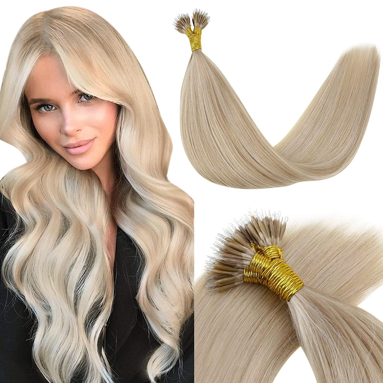 VeSunny Nano Extensions Human Hair Nano Blonde Hair Extensions Straight Nano Micro Loop Hair Extensions Real Human Hair 1g/s