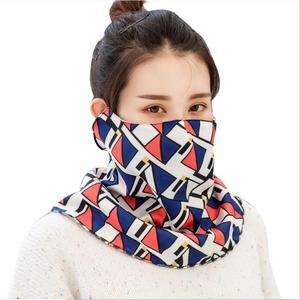 Image 4 - Новинка Осень зима, многофункциональная Женская модная уличная маска с принтом «Три в одном», теплая бархатная маска для шарфа