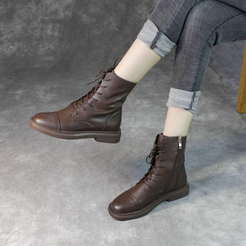 Женские ботинки martin из натуральной кожи; повседневная обувь черного цвета; зимние Брендовые женские кожаные ботинки в байкерском стиле; коллекция 2019 года; мягкие ботильоны на низком каблуке - 5