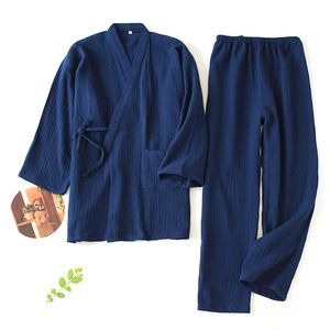 Image 5 - Men and Women 100% Cotton Pajamas Plus Size Loose Bathrobes V Neck Kimono Pijama Mujer Three Quarter Sleepwear Couple Sleepwear