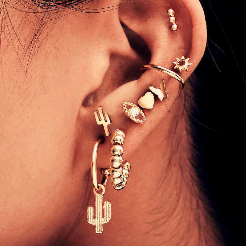 Vintage Mixed Metal Drop Dangle Earrings Set For Women Female Gold Crystal Moon Star Map Cross Small Cuff Clip Fashion Jewelry