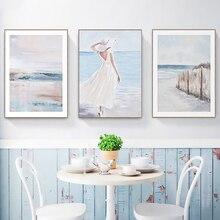 Pintura al óleo Vintage impresión en lienzo abstracto chica de mar rústico cartel pared cuadro para Linving Room Home Decoration Dropshopping