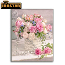 "Full Square/Round Drill Diamond Painting Cross Stitch ""Pink Rose"" Flowers 5D DIY Rhinestone Embroidery Mosaic Home Decor Gifts(China)"