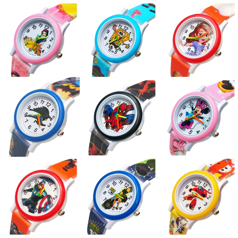 Fashion 9 Different Anime Style Children's Watches Kids Student Girls Boys Clock Quartz Soft Silicone Strap Glass Wrist Watch A8