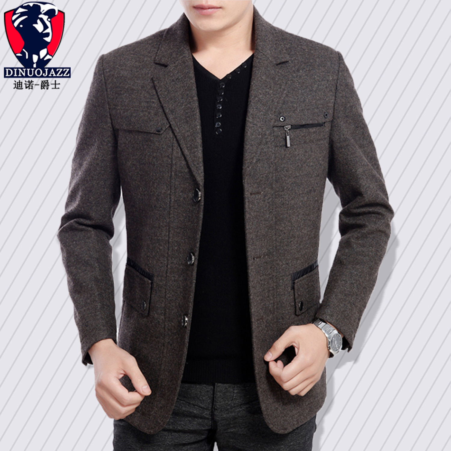 2019 New Autumn Wool Suit Man Long Woolen Jacket Zipper Leisure Coat For Father Loose Coat