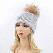Winter Wool Hats Cap Women Men mink fur Ball Pom Knitted Casual Unisex Solid Sport Skullies Beanie thick female cap
