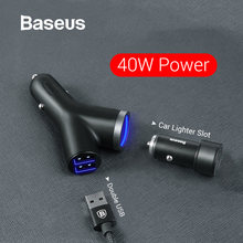 Baseus 40W Car Charger for Universal Mobile Phone Dual USB Car Cigarette Lighter Slot for Tablet GPS 3 Devices Car Phone Charger(China)