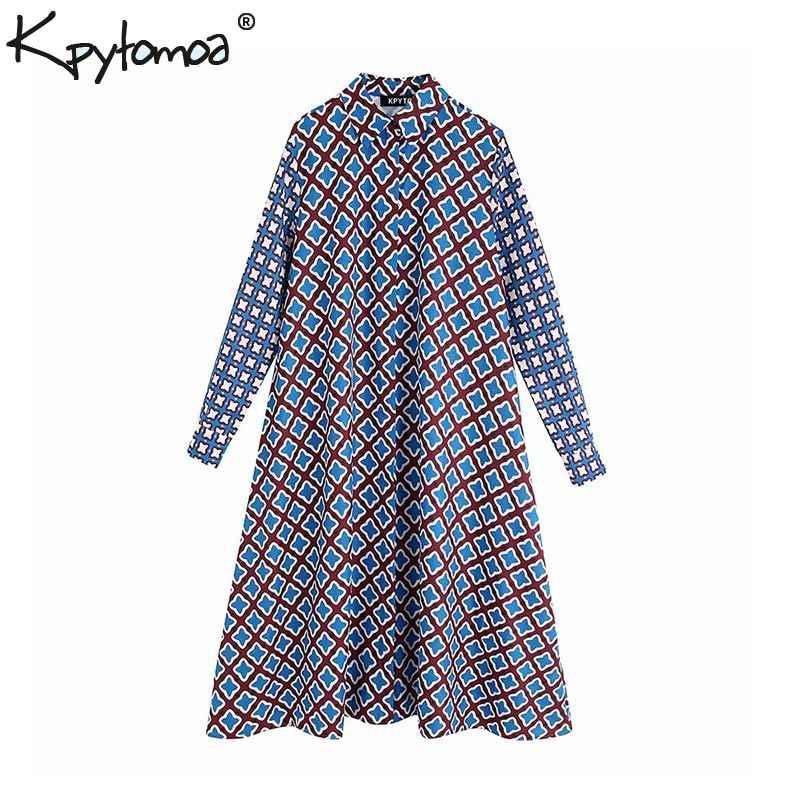 빈티지 세련 된 소프트 터치 인쇄 미디 드레스 여성 2020 패션 옷 깃 칼라 긴 소매 아늑한 여성 드레스 세련 된 Vestidos Mujer