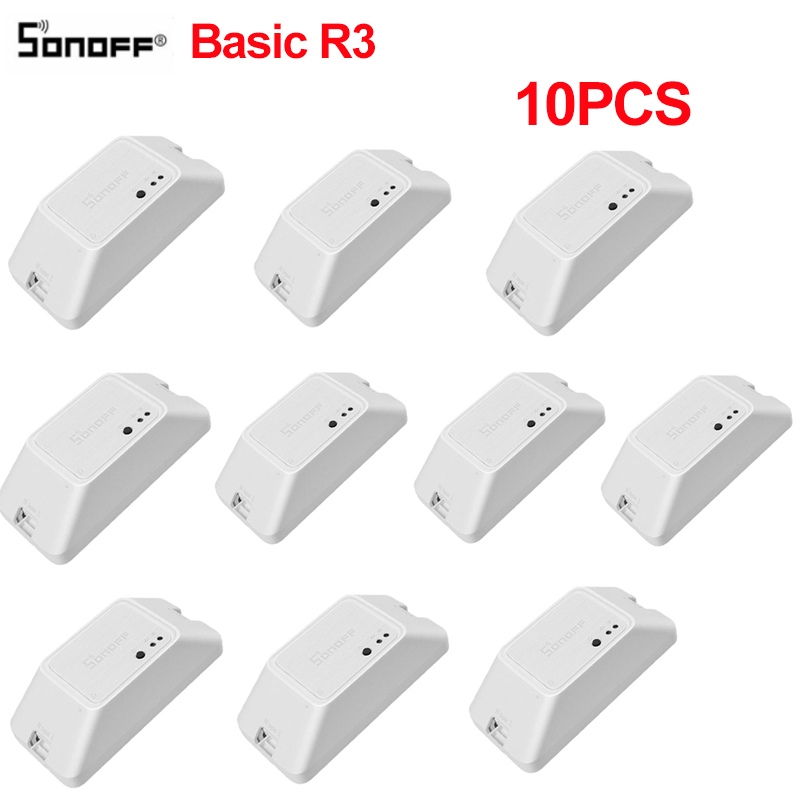 10PCS Sonoff Basic R3 DIY Smart Switch Wifi APP LAN Remote Control Smart Home Light Timer Switches Works With Alexa Google Home