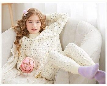 Children's underwear suit cotton boy pajamas thin warm middle-aged children's cotton boys thanksgiving Turtleneck Polka Dot