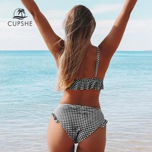 Image 2 - CUPSHE noir et blanc vichy à volants Bikini ensembles femmes Sexy deux pièces maillots de bain 2020 fille plage maillots de bain maillots de bain