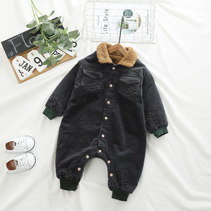 Image 3 - SINGBAIL Baby Rompers Winter Baby Boys Jumpsuits Corduroy Infant Girls Rompers Winter Baby Outfit Thicken Lining Baby Rompers Y0