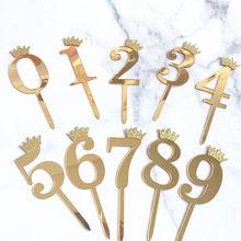 Numero Cake Topper oro argento corona acrilico 0-9 festa di compleanno digitale inserto per torta decorazione per torte torte nuziali decorazioni per Dessert