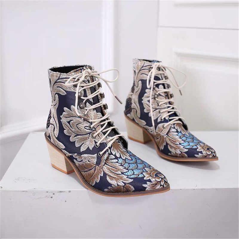 Donne Chelsea Stivali Ricama Etnico Inverno Della Caviglia di Boot Lace Up Scarpe A Punta Tacco Alto Scarpe Retrò Caldi zapatos de mujer