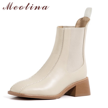 Meotina Women Chelsea Boots Shoes Genuine Leather Thick Heels Short Boots Square Toe Slip On High Heel Ankle Boots Autumn Winter split toe genuine cow leather ankle boots women round chunky high heels short boots shoes ninja tabi boots