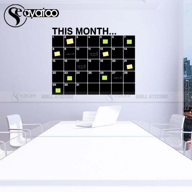 This Month Calendar Erasable Chalkboard Planner 58x72cm 10