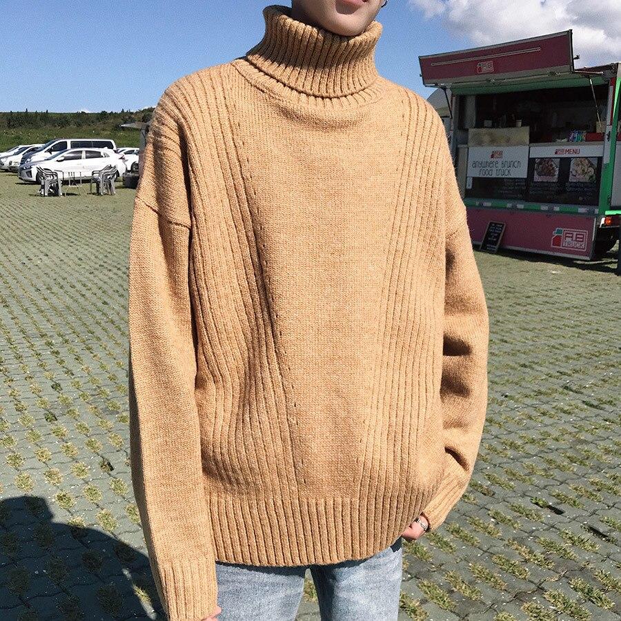 Solid Turtleneck Pullover Men Korean Winter Sweater Men 2019 Long Sleeve Fashion Thick Men's Warm Turtleneck Sweater Male