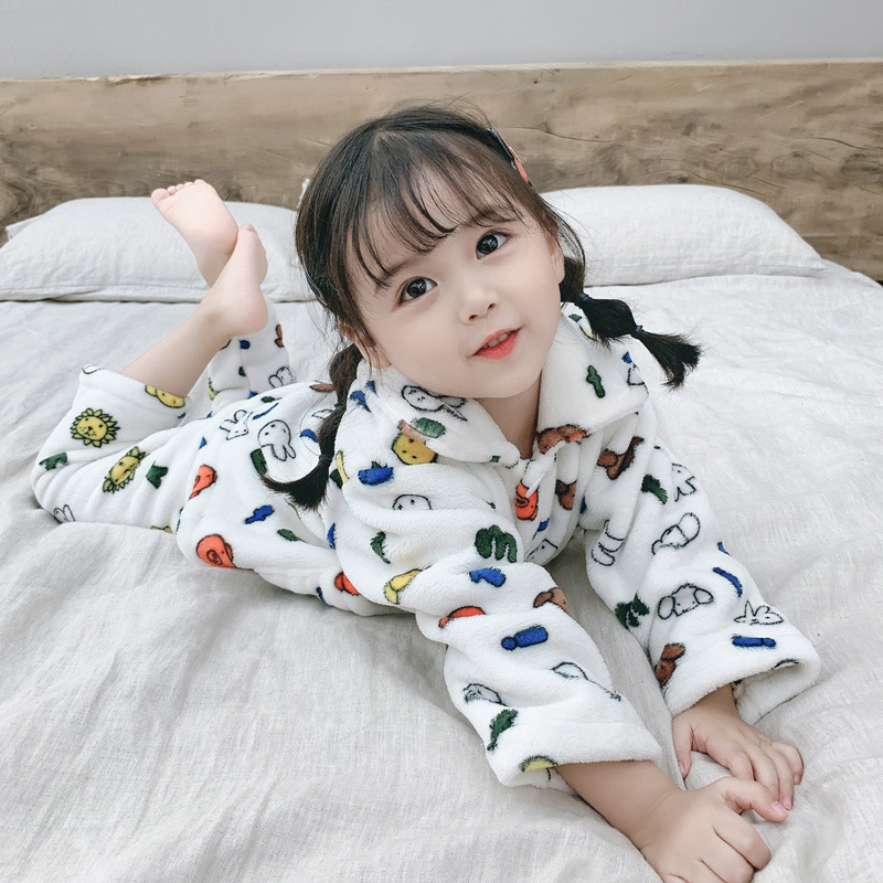 Baby Pajamas Flannel 5 Autumn And Winter 0-1-Year-Old Children Warm Bellyband Home Wear 2 BOY'S 3 GIRL'S Suit