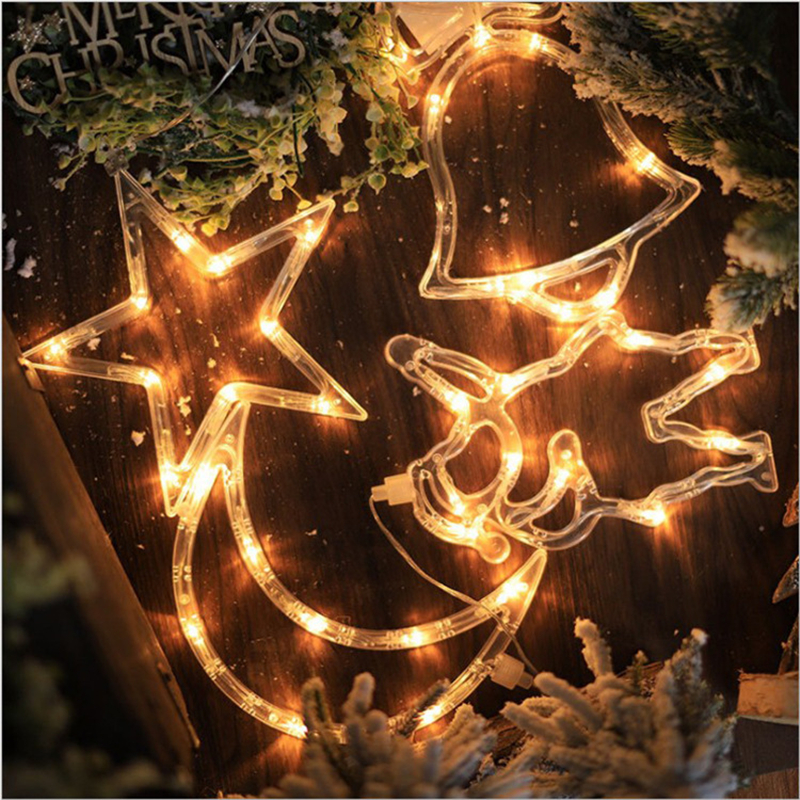 Fairy Garland LED Christmas Outdoor Santa Claus Bell Tree Decorations Lights Indoor Lamps Holiday light