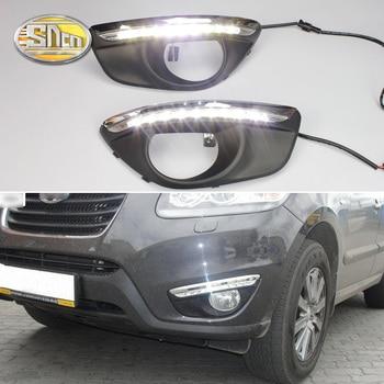 цена на For Hyundai Santa Fe SantaFe 2010 2011 2012 Daytime Running Light DRL LED Fog Lamp Cover With Yellow Turning Signal Functions