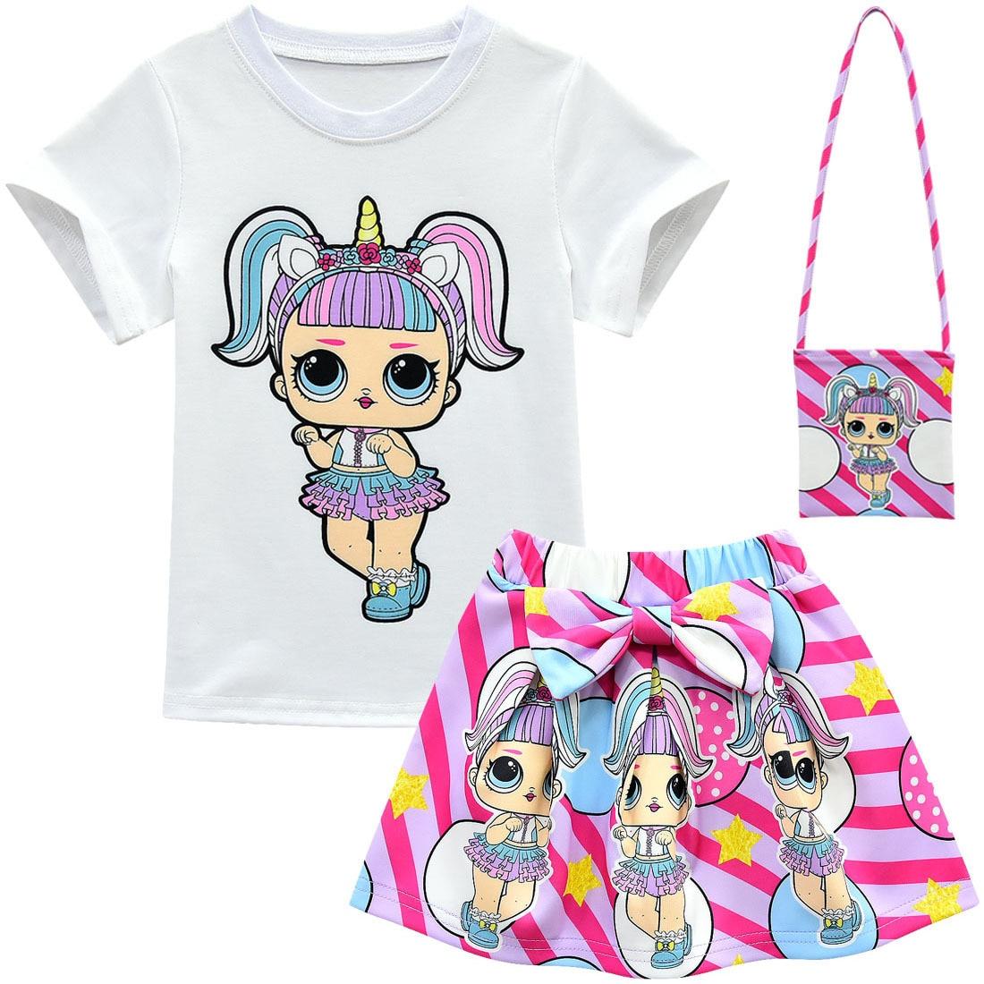 New Surprise Cartoon Children LOl Candy Set Skirt Magic Girl Short Sleeve Bow Bag 3 Piece Set