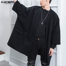 INCERUN Fashion Men Cloak Coats Open Stitch Solid Color Outerwear Streetwear 3/4 Sleeve 2021 Chic Casual Trench Men Poncho S-5XL