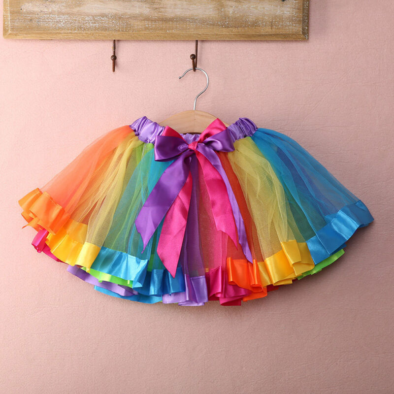 Children Baby Kids Handmade Girl Rainbow Colorful Tutu Skirt Tulle Toddler Infant Mini Skirts Summer Cotton Girls Clothes