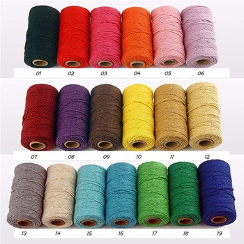 Twisted Macrame Cord 100 Meter 19 Colors DIY Artisan String Sewing Thread Rope Craft Handmade Cotton Cords Accessories