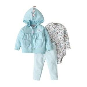 Image 1 - 2019 noworodka dziewczynka chłopiec ubrania zestawy niemowlę dziecko Romper polar i bawełna topy płaszcz + Romper + spodnie 3 sztuk kombinezon zestaw ubrań