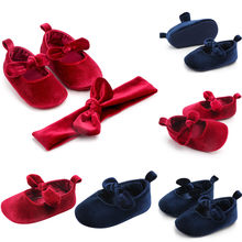 Hot Baby Shoes New Autumn/Spring Newborn Boys Girls shoes Butterfly-knot Fashion Toddler First Walkers Kid Shoes+1PC Hairband(China)
