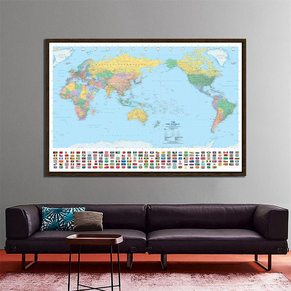 150x225cm The World Map Pacific Centred Non-woven Waterproof Map With National Flag For Geographical Research