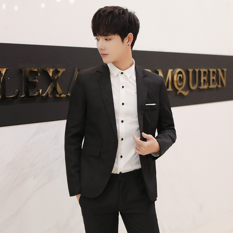 2018 New Style Korean-style Slim Fit Small Suit Single West Coat Fashion Slim Fit Single Row Of A Buckle Coat Men's